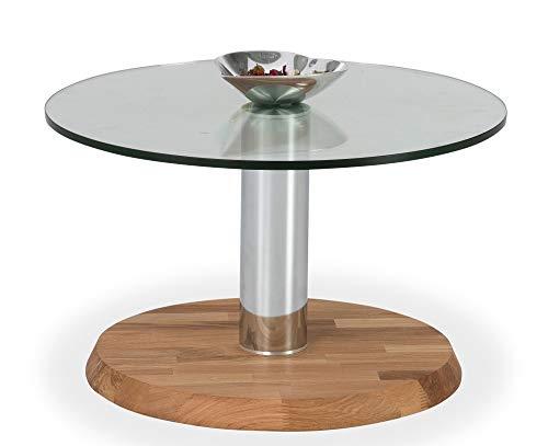 Main Möbel Couchtisch mit Glasplatte 70cm 'Allegro' Wildeiche massiv