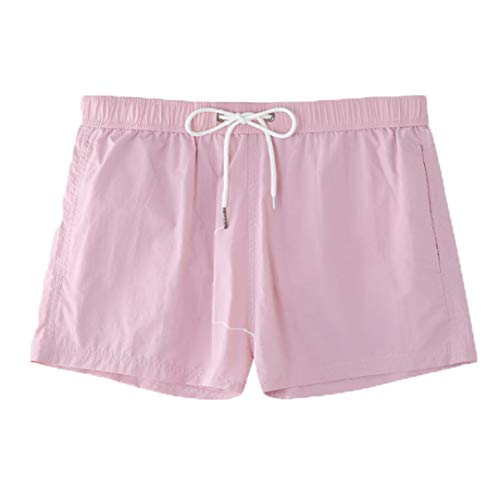 KFT Shorts Swim Trunks Beach Nylon Waterproof Swimsuit Men Shorts with Lining Light Pink S