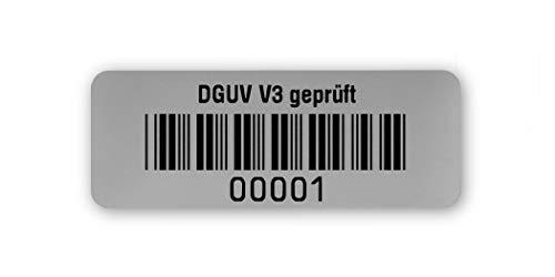 Prüfetiketten DGUV V3 geprüft, 40x15mm, silberoptik matt, fertig bedruckt mit 5-stelligem fortlaufendem Barcode 39 ohne Prüfziffer für alle gängigen Prüfgerät. Nummernkreis 00 001.01 000