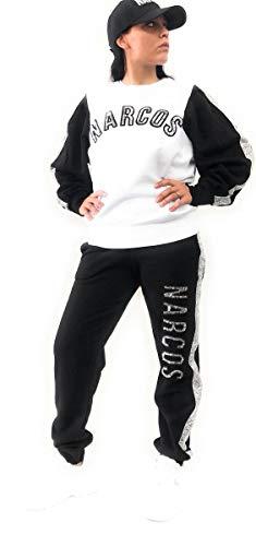 Narcos Chiusa Sweatshirt mit Pailletten Applikationen Silber und Logo, Weiß S