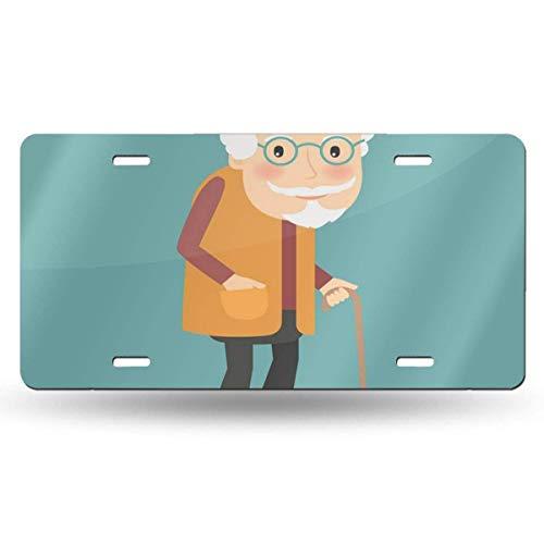 BRIGHT JUNAY Placa de matrícula de Metal Genial, Hombre Viejo con Gafas y Personaje de bastón de Walkins en Blue Walk, Placa de matrícula Delantera de Coche de Dibujos Animados de 6.0 x 12.0 in