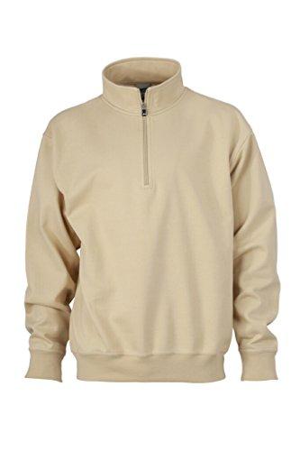JAMES & NICHOLSON Sweat-Shirt avec col Montant et Zip (XL, Pierre)