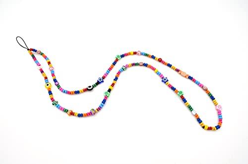 Phone Strap Laccetto o Tracolla per cellulare con perline e charm colorati lunghezza cm 45 - MADE in ITALY