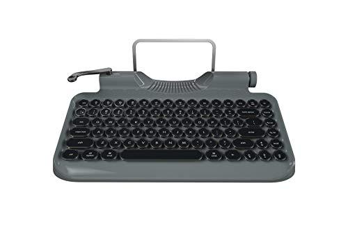Rymek メカニカルキーボード ゲーミングキーボード 青軸 タイプライター キーボード ワイヤレス&USB有線 同時3台デバイス対応 簡単に切り替え Nキーロールオーバー 83キー 英語配列 50H長時間使用 幻想的なバックライト 多彩な機能 ユニークなデザイン 記念日 ホワイトデー 誕生日 バレンタイン ギフト 最適 ブラック バレンタインデープレゼント (グレー)