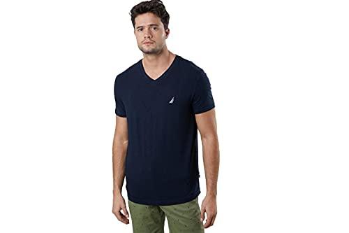 Nautica Men's Short Sleeve Solid Slim Fit V-Neck T-Shirt, Navy, Large