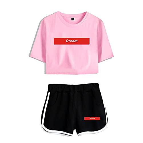 CNSTORE Conjunto de dos piezas Dream Smile Cosplay Crop Top y pantalones cortos de manga corta Dream Team ropa deportiva para mujeres y niñas