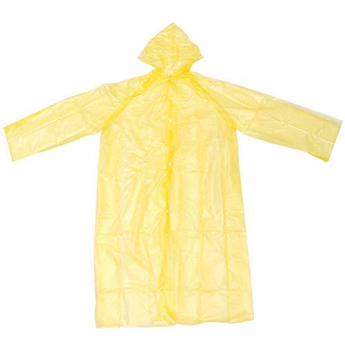 PRETYZOOM 10 Stück Einweg-Regenponcho Transparenter Kapuzen-Regenmantel mit Kapuze für Outdoor-Aktivitäten Sport Wandern Radfahren (Gelb)