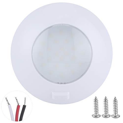 Fydun 24 LED RV Techo Domo Luz Interior Domo Puck Luz Redonda IP67 Impermeable 5000-6000K 3.6W 480 LM Lámpara de Techo de automóvil 12V-28V