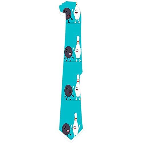 Mens Tie lustige Bowlingkugel und Pin Classic Krawatten einzigartiges Geschenk Krawatten Jacquard gewebt für Business Hochzeitsfeier