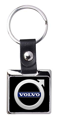 Porte-clés Acier/Simili Cuir So Chic - Volvo (Noir)