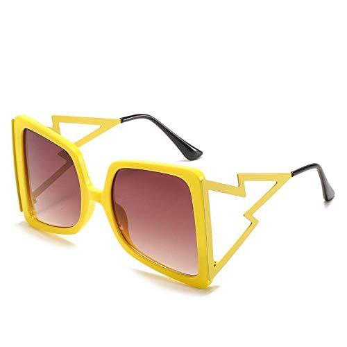 hqpaper Gafas de sol de mujer casual de moda con montura cuadrada europea y americana-Rebanadas de té doble con montura amarilla
