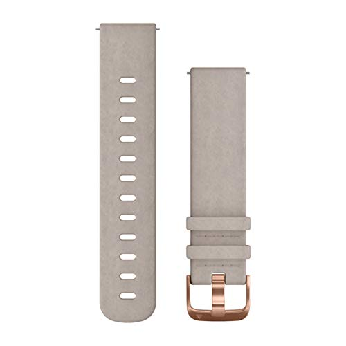 Garmin Acc, vivomove HR Replacement Band, Gray Leather, One-Size, W125648044 (Band, Gray Leather, One-Size 010-12691-07, Watch Strap, Suede, Grey, Rose Gold, 20 mm)