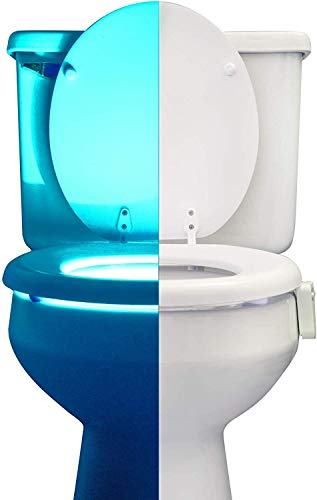 Toilet Bowl Night Light with Motion Sensor by RainBowl - Funny & Unique Birthday Gift Idea for Men, Him, Dad, Boyfriend, Husband, Women, Her, Mom - Cool Fun Gadget, Best Gag Housewarming Present