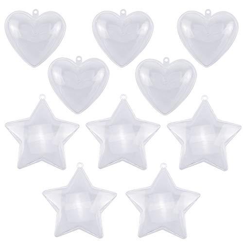 Hysagtek 10 juegos de moldes para bombas de baño, forma de estrella en forma de corazón, bolas rellenables, decoración del...