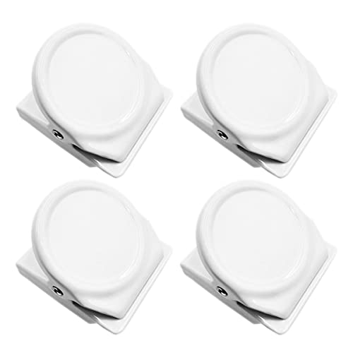 Mi Metty Magnetic Clips, 4 Pack Metal Clips, Refrigerator Whiteboard Wall Magnetic Memo Note Clip,Colored Magnetic Metal Clips for Clipping Photos,Pictures.Set of 4 in 4 Pack (White)