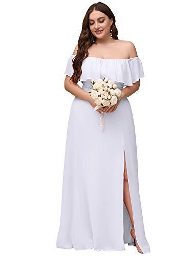 Ever-Pretty Vestido de Novia Gasa Abertura A-línea Corte Imperio sin Hombros Talla Grande para Mujer Blanco 52