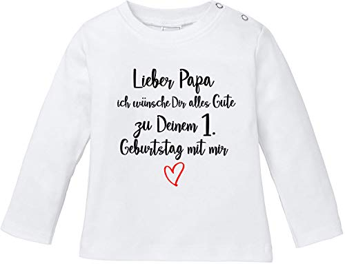 EZYshirt® Lieber Papa ich wünsche dir Alles Gute zum 1. Geburtstag mit Mir T-Shirt Langarm Baby Bio Baumwolle