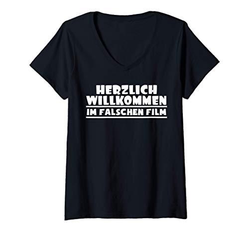 Damen Herzlich willkommen im falschen Film, Regie Kino Filmabend T-Shirt mit V-Ausschnitt