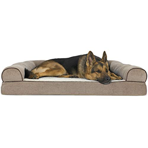 Furhaven Pet Dog Bed - Orthopedic Faux Fleece and Chenille Soft Woven Traditional Sofa-Style Living Room Couch Pet Bed with Removable Cover for Dogs and Cats, Cream, Jumbo