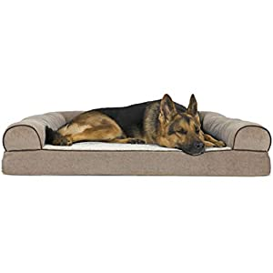 Furhaven Pet Dog Bed – Orthopedic Faux Fleece and Chenille Soft Woven Traditional Sofa-Style Living Room Couch Pet Bed with Removable Cover for Dogs and Cats, Cream, Jumbo