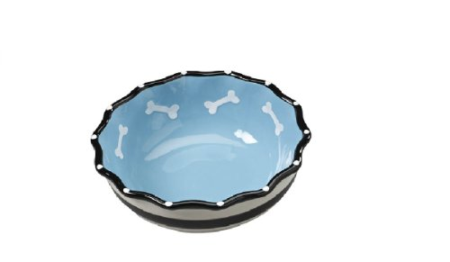Ethical Products Glossy Stoneware pet Dish - 7-Inch, Blue - Hygienic and Easy to Clean - Contemporary Ruffle Dish for Dogs