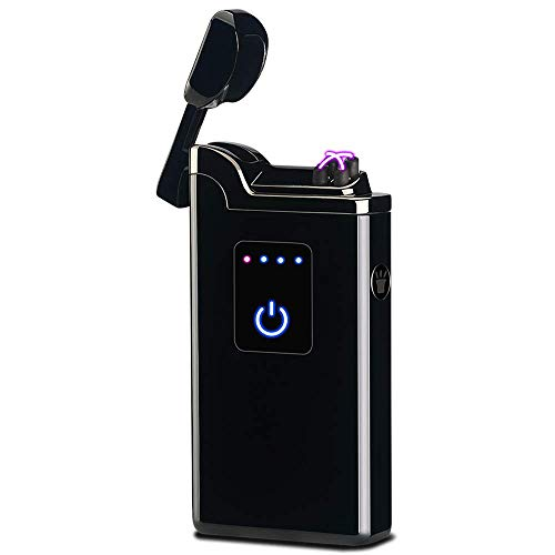SunTime Dual Arc Lighter with Flashlight USB Rechargeable Flameless Windproof Electric Plasma Double Arc Lighter for Cigar Candle Cigarette Pipe (Black)