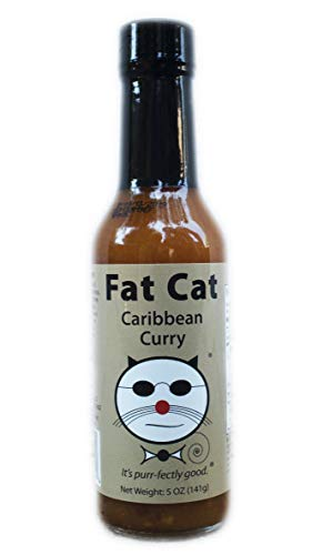 Fat Cat Caribbean Curry Hot Sauce With Scotch Bonnet and Habanero, Preservative-Free, Gluten-Free, 5 oz. glass bottle