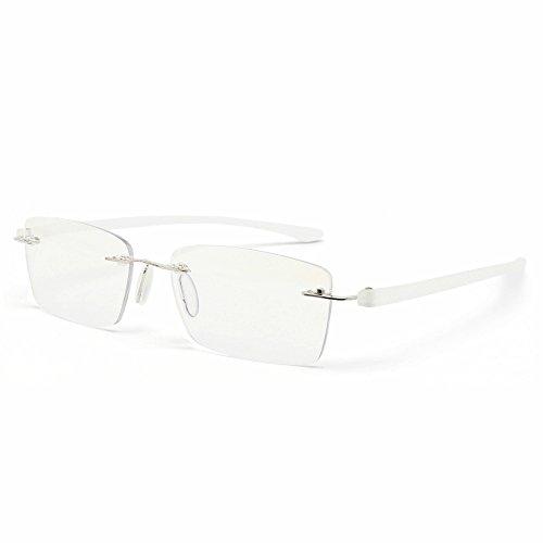 MIDI-ミディ おしゃれ 老眼鏡 ブルーライトカット 紫外線カット マットホワイト 度数+1.50 ふちなし 軽量 (M-307N,C1,+1.50)