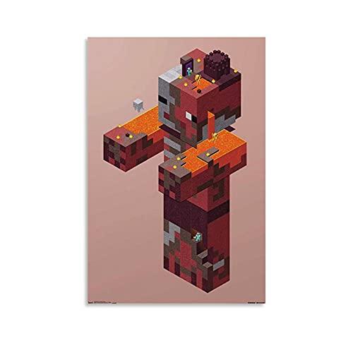 SEMN Minecraft Creeper Village Poster Poster dekorative Malerei Leinwand Wandkunst Wohnzimmer Poster Schlafzimmer Malerei 24x36inch(60x90cm)