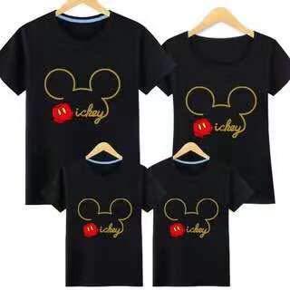 親子T-shirt ディズニー Tシャツ お誕生日 結婚お祝い ペアルック Tシャツ ミッキー 親子 ペア 男の子 女の子 親子服 半袖 キャラクタ 可愛い カジュアル 夏 (子供120, ブラック)