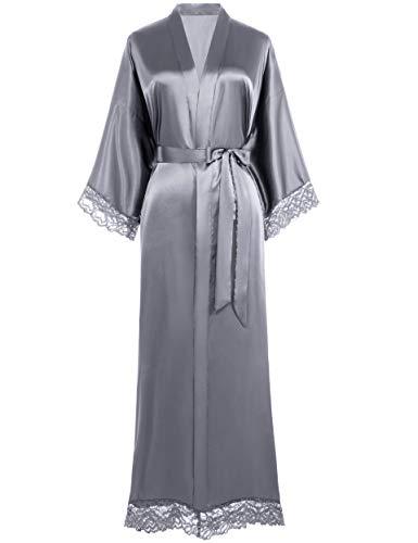 Coucoland Damen Morgenmantel Lang Kurz Einfarbiger Bademantel Spitzen Ärmel Seide Satin Kimono Kleid Damen Sommer Robe Reine Farbe Schlafmantel (Lang - Grau)