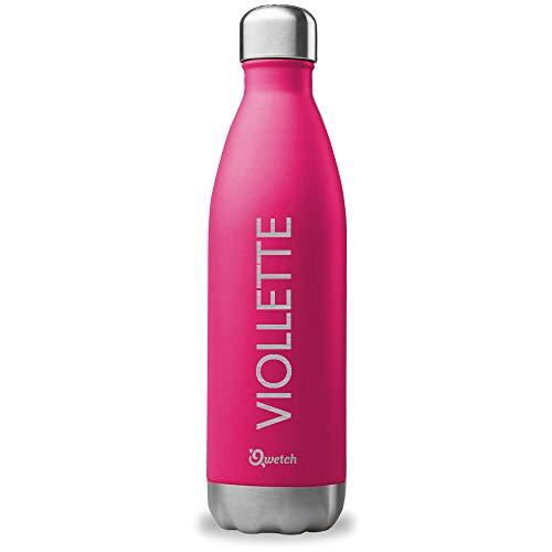 QWETCH Bouteille Isotherme Personnalisée Gravée en INOX 750ml - Maintient Vos Boissons au Chaud Pendant 12 Heures et au Frais Pendant 24 Heures - BPA Free (Magenta)