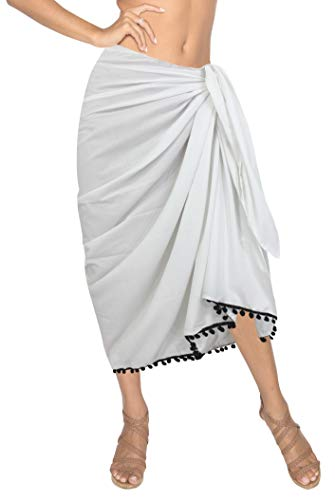 "LA LEELA Halloween Costume rayón Suave Llanura pompón del Bikini Falda Pareo Encubrir 78""X39"" Ghosts Blanco_H682"