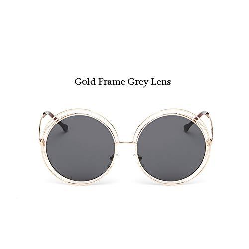 ZJMIYJ zonnebril, vintage, zonnebril, dames, rond, grote bril, spiegel, lens, retro, cool lady, goudkleurig