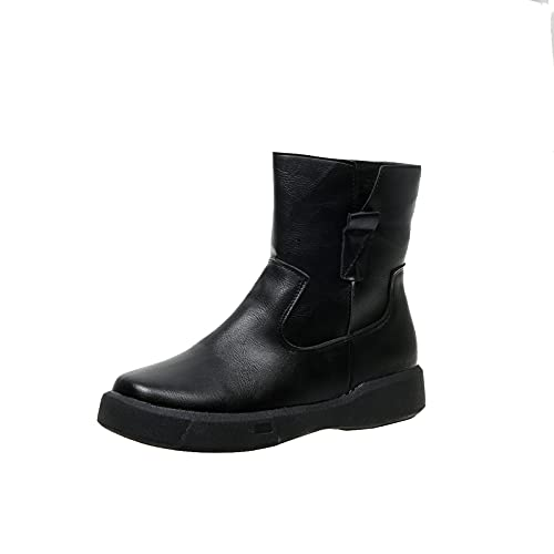 New Womens Sexy Fashion Waterproof Side Zipper ankle booties ladies Vintage Flat Bottomed Boots no-slip solid color platform Short Boots Casual comfortable Women Working Boots