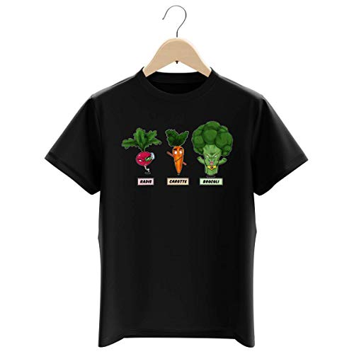 T-shirt Enfant Garçon Noir parodie Dragon Ball Z - DBZ - Sangoku, Broly et Raditz - Super Héros de la Planète Végétale (T-shirt enfant de qualité premium de taille 9-10 ans - imprimé en France)