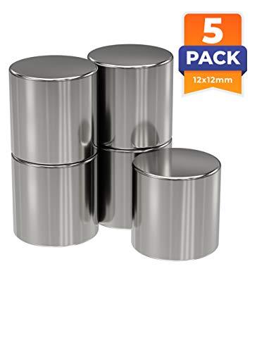 5 x Neodym-Magnete rund als Magnet-Scheibe in Ø 12 x 12 mm hoch, vernickelt (NiCuNi) | Haftkraft ca. ~9 kg | 5 Scheibenmagnete