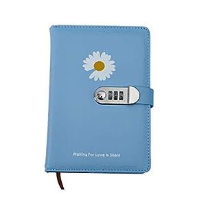 HJHJ Cuadernos Cerradura de combinación Notebook, Diario con Horizontal Core, 80 gr de Papel Superior de Grueso, Enc Piel Diario, Oficina for la Escuela blocs de Notas (Color : Blue 1 Flower Daisy)