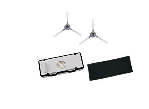 Rowenta Set de 2 Filtros y 2 Cepillos Explorer ZR177001 Cepillos laterales y Filtros para robot aspirador Serie 80 Animal Care, blanco y negro