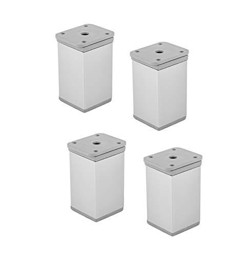 Gedotec Möbelfüße Aluminium Sockelfüße höhenverstellbar - Schrankfüße verstellbar - KATRIN | Höhe 100 mm | Fußrohr eckig | Füße +15 mm höhen verstellbar | 4 Stück - Möbel-Beine Alu silber eloxiert
