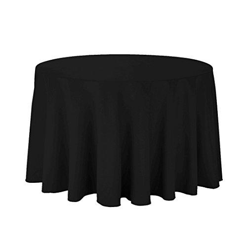 Trimming Shop zwart ronde tafelkleed met linnen banket Poly naadloos tafelkleed voor eten en kerst partij, bruiloft, 132 inch