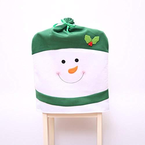 VHJ Funda para Silla Decoraciones navideñas para muñeco de Nieve en casa Sombrero Grande Decoración de Mesa para Hotel, Verde
