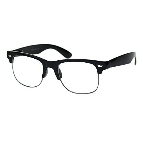 Mens Half Rim Nerdy Horned Hipster Clear Lens Eye Glasses (Black Gunmetal)