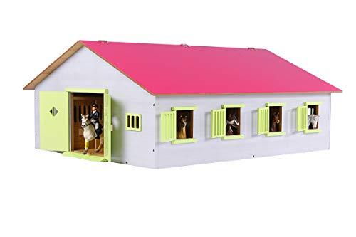 Kids Globe Reiterhof 1:24, Bauernhof mit 7 Pferdeboxen, Pferdehof aus Holz, mit Faltdach, 610189, rosa
