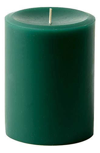 """3"""" x 4"""" Hand Poured Solid Color Unscented Pillar Candles Set of 3 (Green)"""
