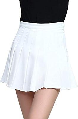 PAODIKUAI Women's High Waist A-Line Flared Short Uniform Cheerleader Scooters Mini Skater Skirt (C-White, Medium)
