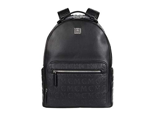 MCM 40 Stark Monogram Leather Backpack Black One Size