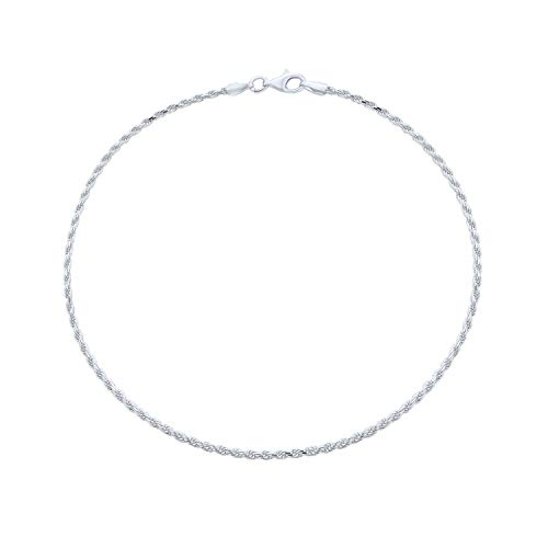 Simple Plain Rope Chain Anklet Ankle Bracelet For Women 925 Sterling Silver 50 Gauge Made In Italy 10 Inch