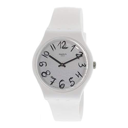 Swatch SUOW153 Gesso - Reloj de pulsera de cuarzo de silicona, color blanco mate
