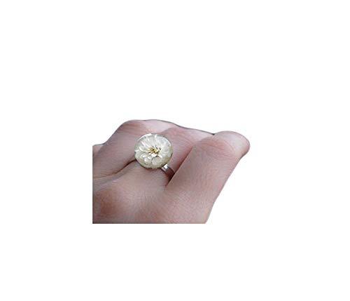 Echter Blumenring - Harzring mit echten weißen Trockenblumen